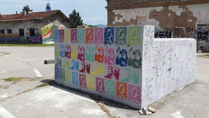 Stencils near the David Bowie mural in Sarajevo. Photo by Filip Stojanovski, CC BY.