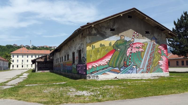 Another graffiti on Sarajevo University Campus, unrelated to Bowie. Photo by Filip Stojanovski, CC BY.
