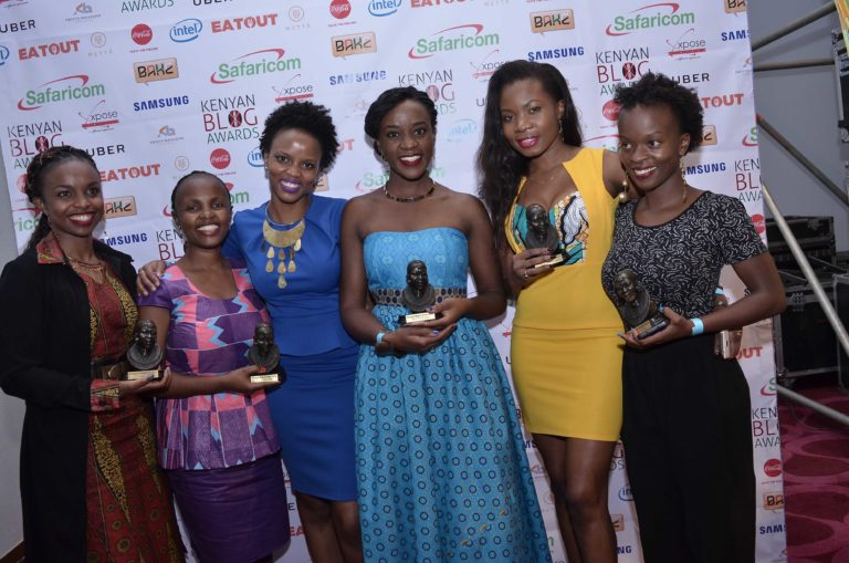 Some of the BAKE Awards 2016 winners – L to R, Dr. Claire Kinuthia (theycallmedaktari.com), Maryann Waweru (mummytales.com), Rachael Muthoni (safari254.com), Diana Kaluhi (kaluhiskitchen.com) and Lucia Musau (luciamusau.com). Photo used with permission.