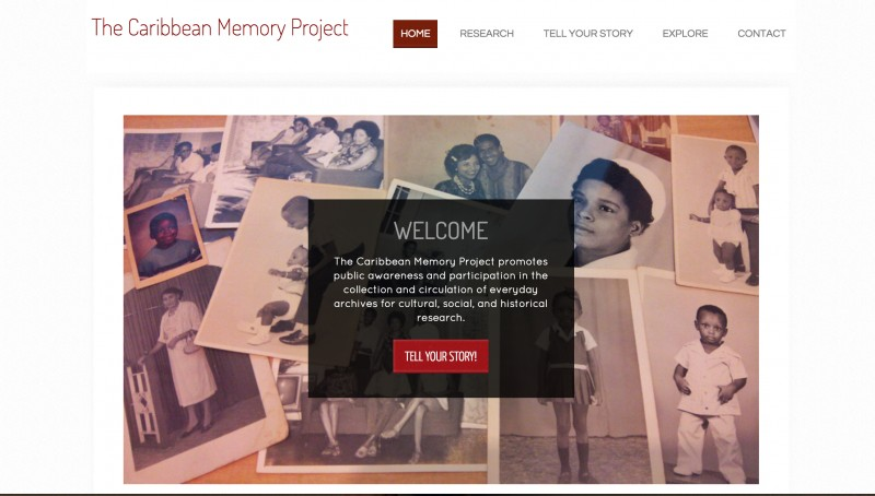 A screen grab of the Caribbean Memory Project's homepage.