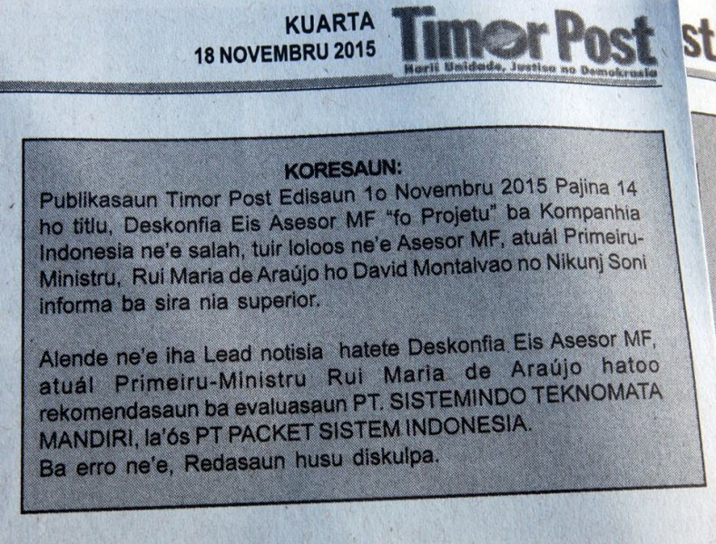A copy of the correction published by Timor Post on November 8, 2015. Photo by Raimundos Oki, used with permission