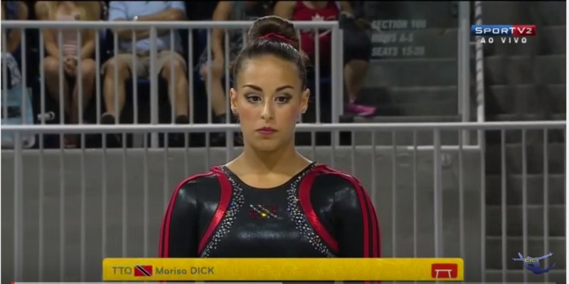 A screenshot of a YouTube video of Marisa Dick, Trinidad & Tobago's gymnastics representative at the 2016 Olympics, competing at the Pan American Games in Toronto in 2015.