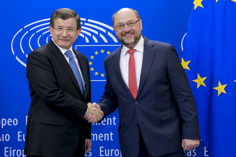 "7 March 2016, Turkey's Prime Minister Davutoglu meets European Parliament President Martin Schulz: ""For the benefit of refugees we need to cooperate with Turkey"" Source: European Parliament www.europarl.europa.eu/news/en/news-room/20160304STO17353/Schulz-""For-the-benefit-of-refugees-we-need-to-cooperate-with-Turkey"""