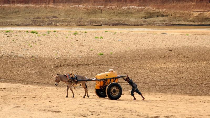 Fluss Shabelle, Stadt Gode, Somali-Region, Äthiopien: Nach dem Wasserholen hilft ein Junge seinem Esel die Sandbank hinauf. 11. Februar 2014. Foto des Flickr-Accounts von UNICEF Äthiopien. CC-BY-NC-SA 2.0