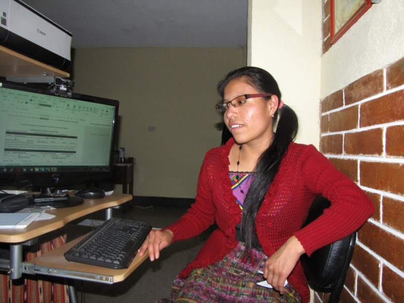 Luisa Hernández Simaj works for the Migration Project helping family members locate missing loved ones in the US as well as supporting people who don't make it and return home in debt. Credit: Amy Bracken