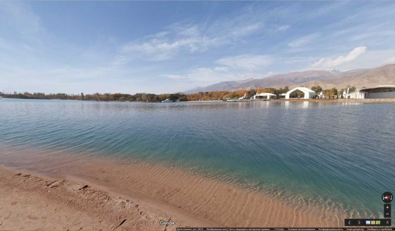 Kyrgyzstan's famous Lake Issyk-Kul. via Google Street View. Photo taken from Kloop.kg.