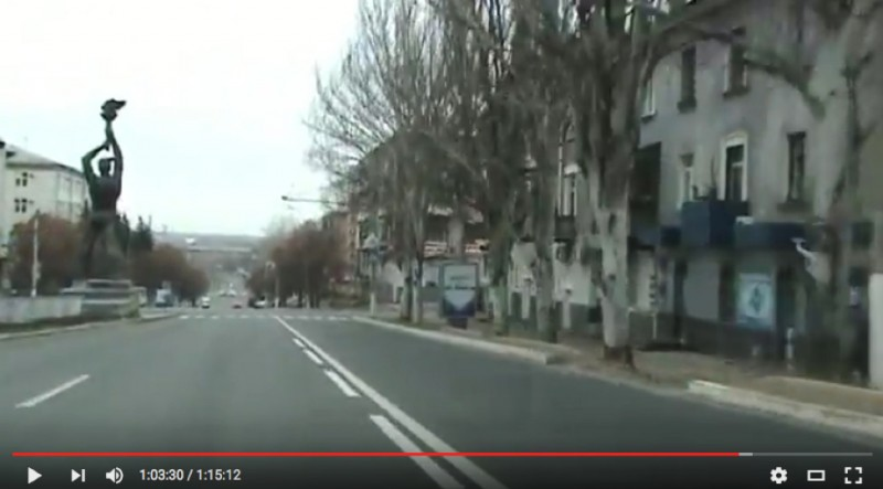 Dashcam video of Luhansk, November 2014. Screen shot of YouTube video.