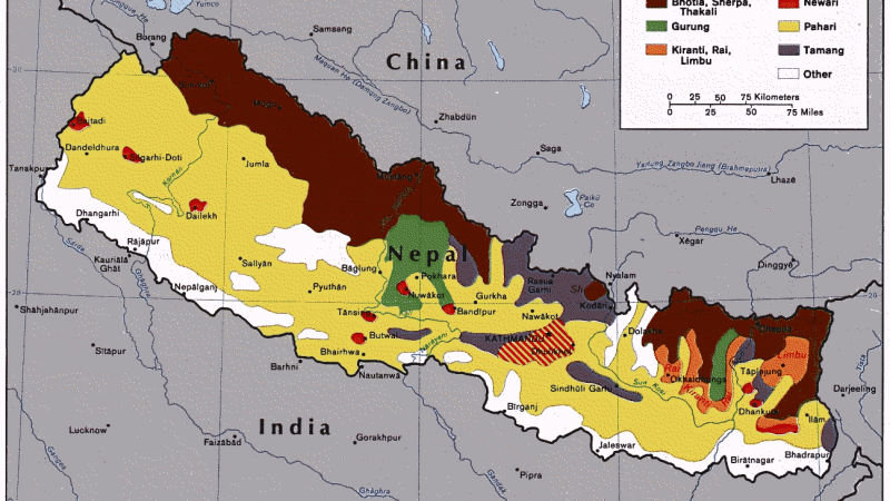 Ethnic Groups in Nepal. Image via Wikimedia commons. Public Domain
