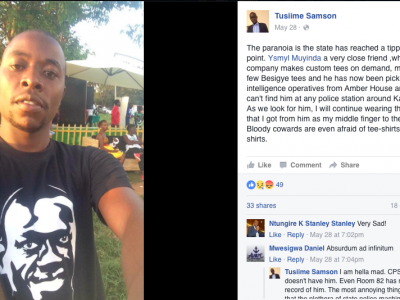 Ugandan Man Arrested Over T-Shirt Featuring Opposition Leader