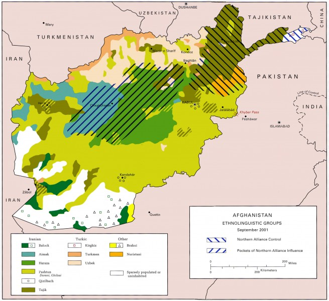 Ethno-linguistic map of Afghanistan. Wikipedia image.