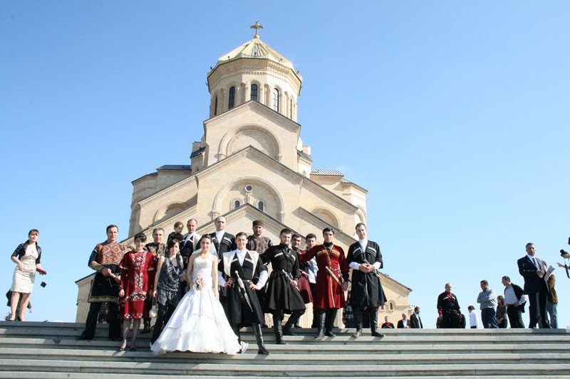 Wedding party in Georgia's capital, Tbilisi. Wikipedia image.