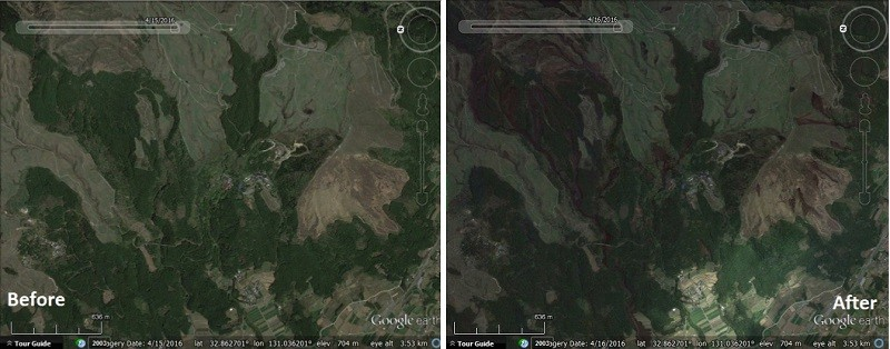 Before and after of multiple landslides on Mt Aso, Japan. Images from Google Earth blog.