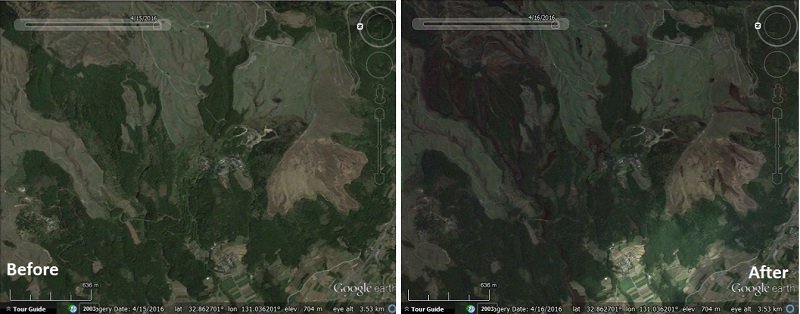 Before and after of multiple landslides on Mount Aso, Japan. Images from Google Earth blog.