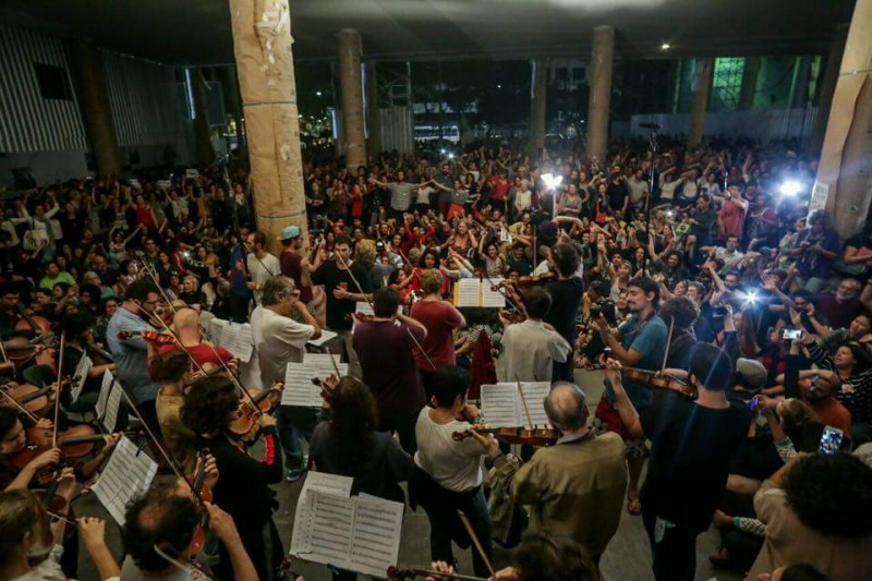 "Musicians organized a ""Concert for Democracy"" at an occupied government building in Rio de Janeiro. Photo: Shared on Facebook"