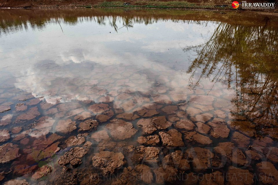 A dried-up pond in Pindaya Township in Southern Shan State on April 28. Photo by Jpaing / The Irrawaddy