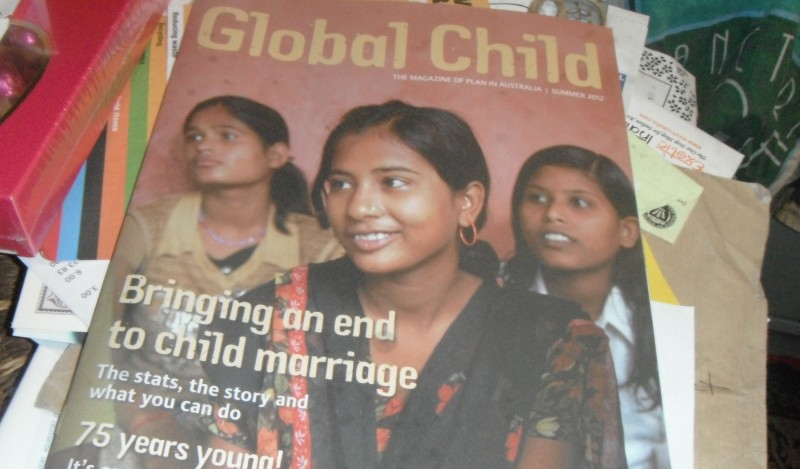 Photo of the Global Child magazine issue about bringing an end to child marriage. Image by flickr user RubyGoes, used under a CC BY 2.0 license.