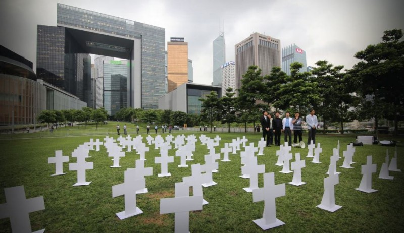 The paper graves erected by Neo Democrats at Timar Park outside government office. Photo: Neo Democrats via Hong Kong Free Press.