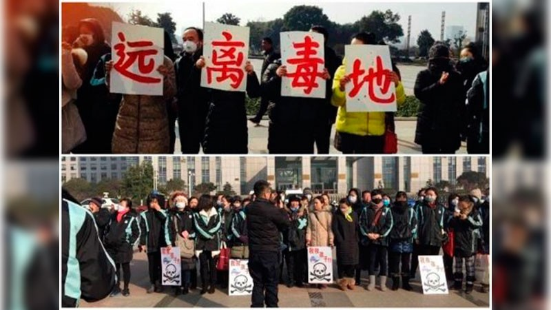 Parents protest outside the Changzhou Foreign Language School demanding the relocation of the school campus. Photo: Twitter user hotspringfollow