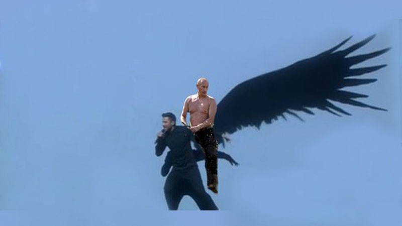 "Image shared widely online featuring the ""Putin Rides"" meme mixed with Sergei Lazarev's performance."