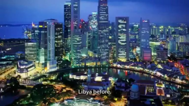 Screenshot of the video depicting the Singapore skyline as Libya. Source: YouTube