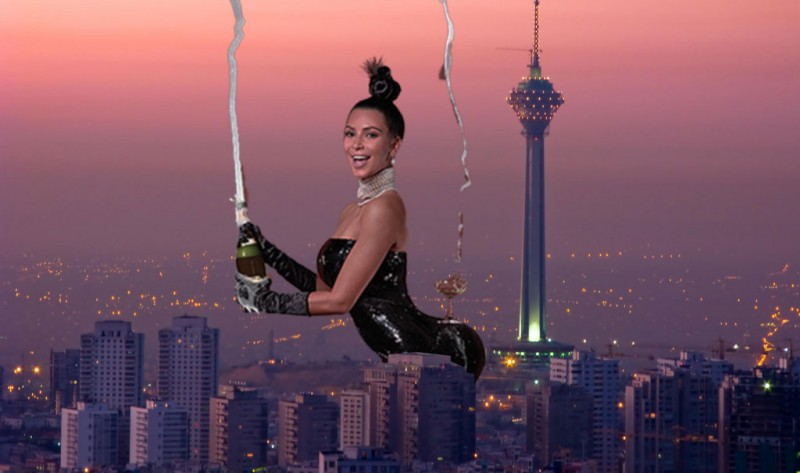 Kim Kardashian takes on Tehran. Photo edited by Kevin Rothrock.