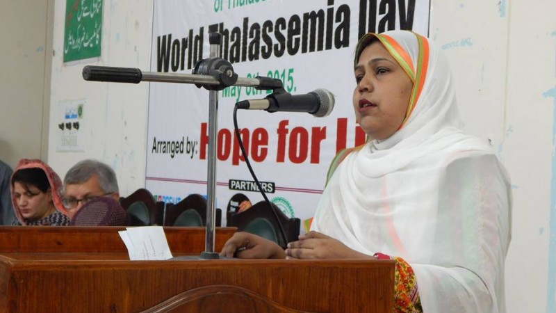 Ayesha Mehmood speaks at World Thalassemia Day event. Photo via Ayesha Mehmood's facebook