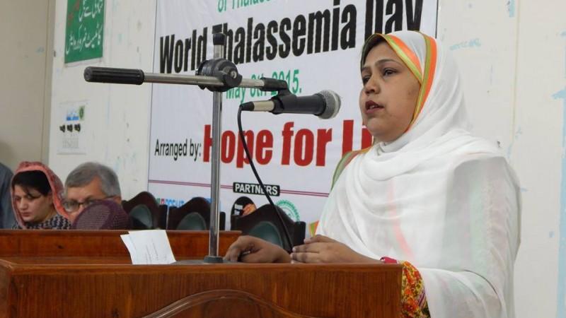 Ayesha Mehmood speaks at World Thalassemia Day event. Photo via Ayesha Mehmood's facebook
