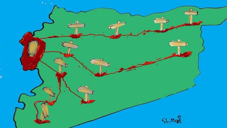 [Image: Drawing by Abi al-Bara' shows the map of Syria as a road signaled by coffins leading to the coast. (Source: The Cry (as-Sarkhah)'s Facebook page)].