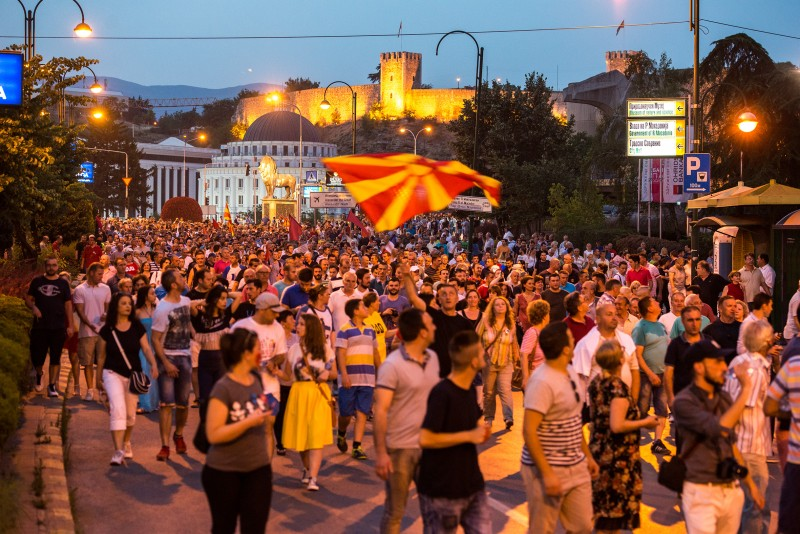 'Colorful Revolution' protesters walk the streets of Skopje on June 20, 2016. Photo by Vančo Džambaski, CC BY-NC-SA.