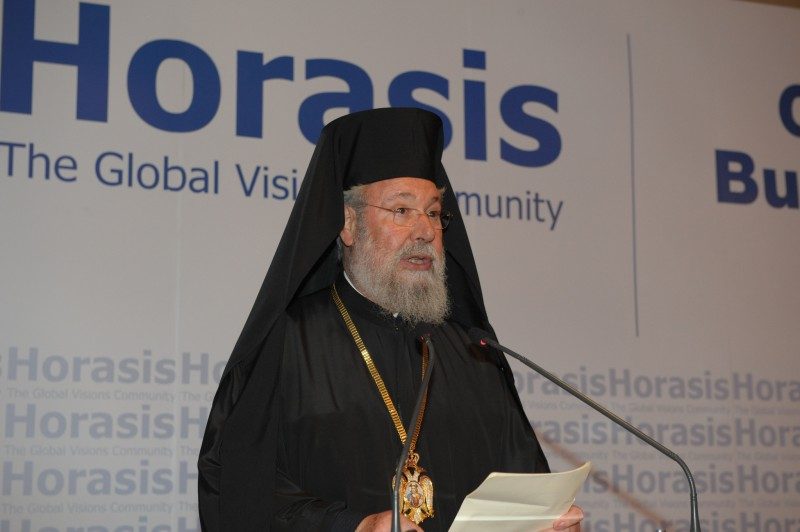 Chrysostomos II., the Archbishop of Cyprus, at the Horasis Global Russia Business Meeting in April 2013. Photo by Richter Frank-Jurgen. CC BY-SA 2.0