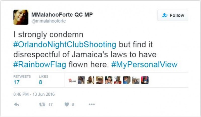 Screenshot of the Jamaican Attorney General's tweet that has since been removed from Twitter.