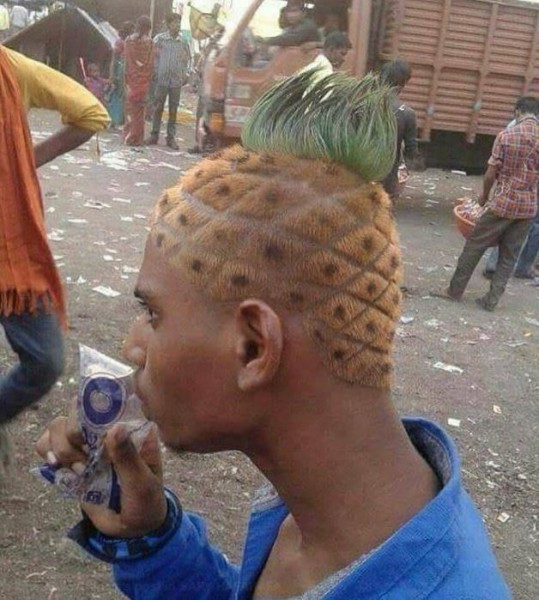 """New Pineapple haircut because I want to be famous too"" via Rivo Francis on Facebook"