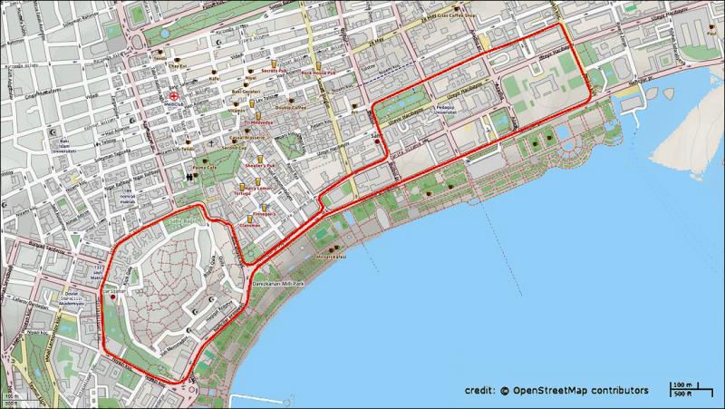 Baku F1 street circuit. Wikipedia image.