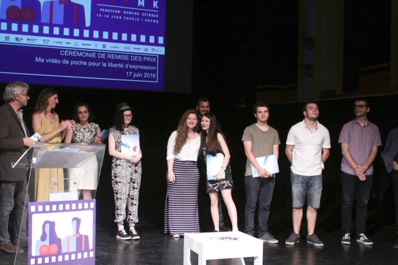 "Participants in the ""Freedom of Expression Through Mini-Video"" Competition. Photo: L'Institut français de Skopje."
