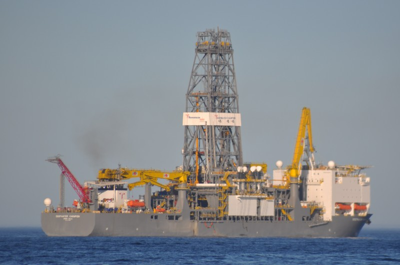 ExxonMobil's Oil Exploration ship, the Deepwater Champion. Photo by flickr user Michael Elleray, used under a CC BY 2.0 license.
