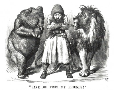 "Political cartoon depicting the Afghan Emir Sher Ali with his ""friends"" the Russian Bear and British Lion (1878)"