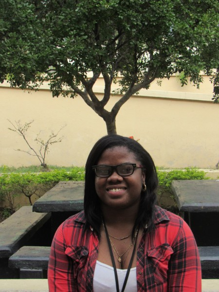 Makeda Bawn at the University of Technology campus in Jamaica, where she is studying communications. Photo by Emma Lewis, used with permission.