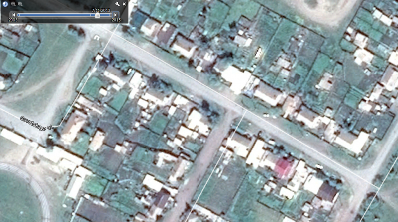Figure 10: Screen capture from Google Earth of Mira Street in Shira, Khakassia, from July 15, 2013.