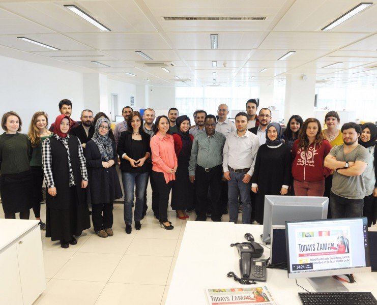 Staff of Today's Zaman prior to the takeover. Photo courtesy of Sevgi Akarçeşme via CPJ.