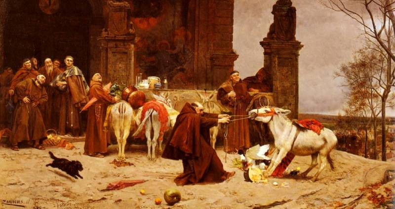 "To illustrate schadenfreude -- pleasure derived from misfortune of others -- Wikipedia used the painting ""Taming the Donkey,"" by Eduardo Zamacois y Zabala (1868), in which a group of monks laughs while the lone monk struggles with the donkey. (Public Domain)."