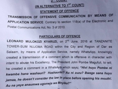 "Tanzanian Prosecuted For ""Insulting"" the President on WhatsApp"