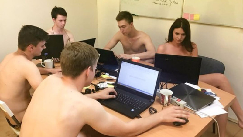 Belarusian Internet users stripped in their workplaces to respond to the President's call to put more effort into their work. Image from Instagram.