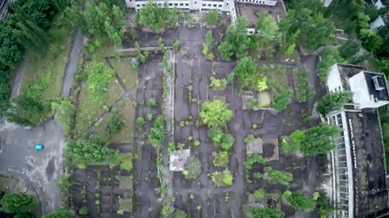 Screenshot from the Chornobyl360 documentary trailer, showing drone video shot over Pripyat. Courtesy image.