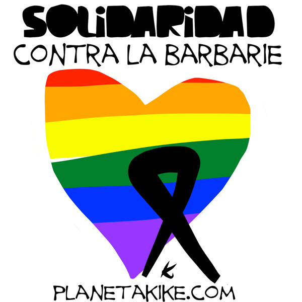 """Solidarity against inhumanity."" Illustration by artist Kike Estrada in honor of the victims of the Orlando massacre. Taken from his website, planetakike.com. Used with permission."