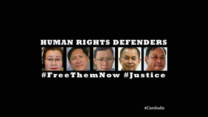 Detained human rights defenders in Cambodia. Image from @LICADHOCanada