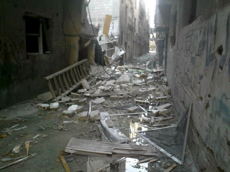 The street Ahmad Shihabi left in Yarmouk, Syria. The area had been damaged by airstrikes and fighting between the regime and rebels. Photo by Ahmad Shihabi