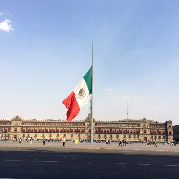 Mexico. National flag hoisted at half-mast in mourning. Photo taken by the author.