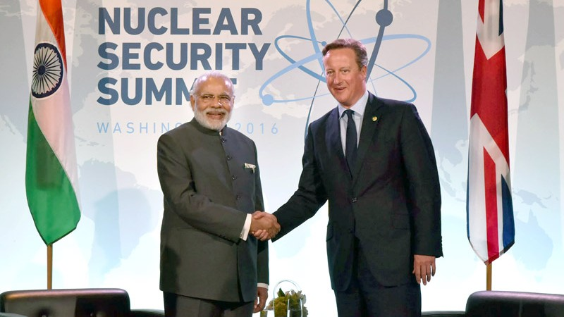 Indian Prime Minister, Narendra Modi meeting the Prime Minister of United Kingdom, Mr. David Cameron, on the sidelines of the Nuclear Security Summit 2016, in Washington DC on April 01, 2016. Image via Wikimedia Commons. BY-SA 2.0