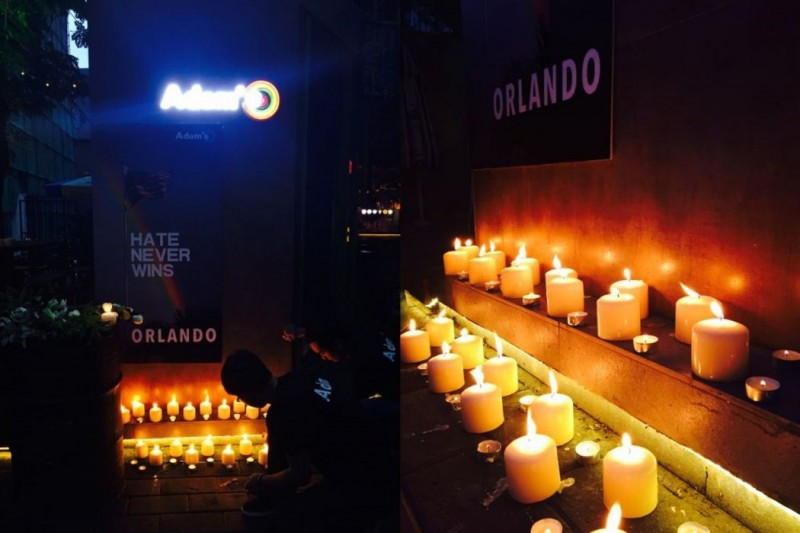 A vigil for the victims of the Orlando shooting at a gay bar in Beijing. Photos: Adam's. via HKFP