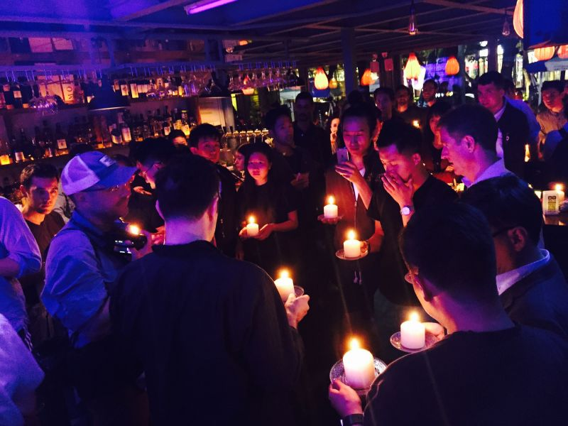A vigil for the victims of the Orlando shooting at a gay bar in Beijing. Photo: Adam's via HKFP.